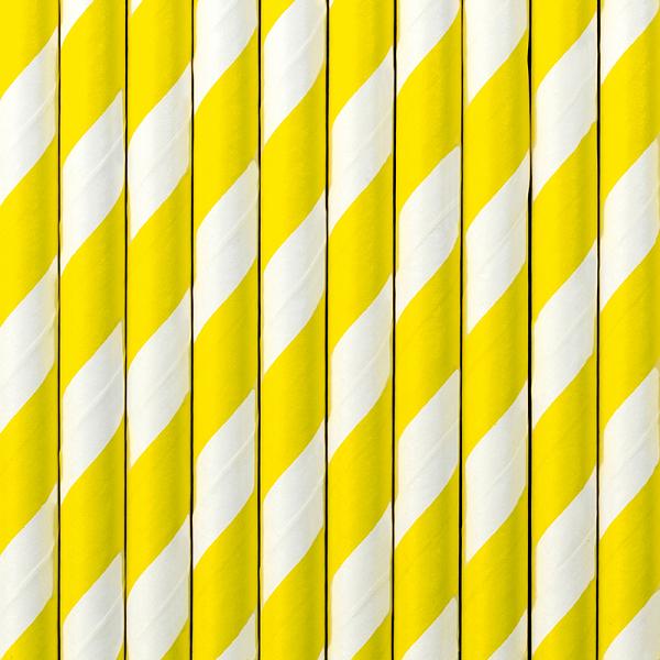 Szívószál papírból, sárga -fehér csíkos