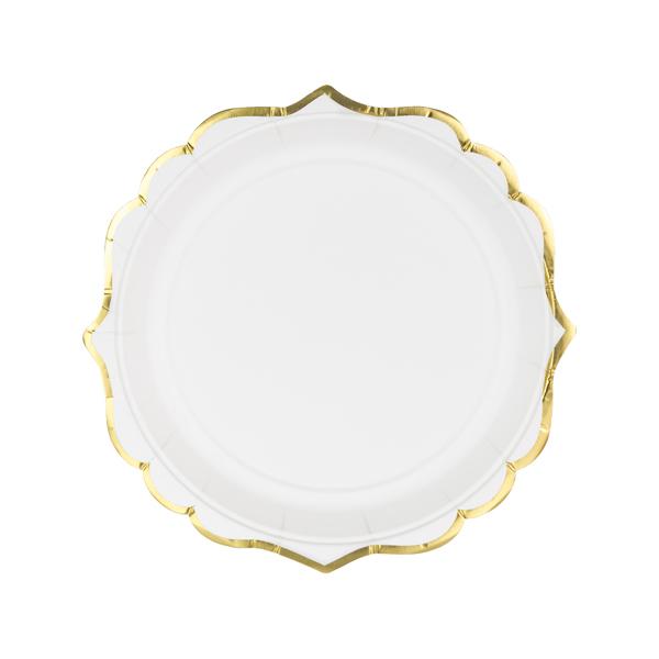 Papír tányér, fehér, arany szegéllyel, 18.5 cm