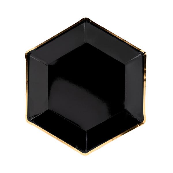 Papír tányér, fekete, ünnepi, arany szegéllyel, 23 cm
