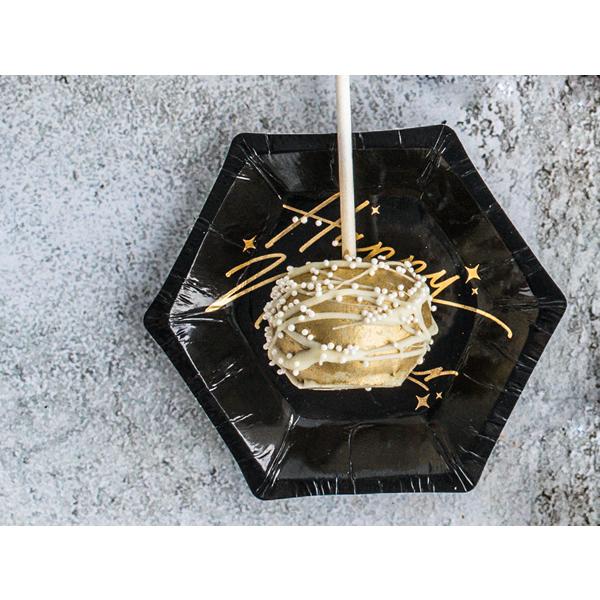 Papír tányér, fekete, arany betűkkel, HNY, 12.5 cm