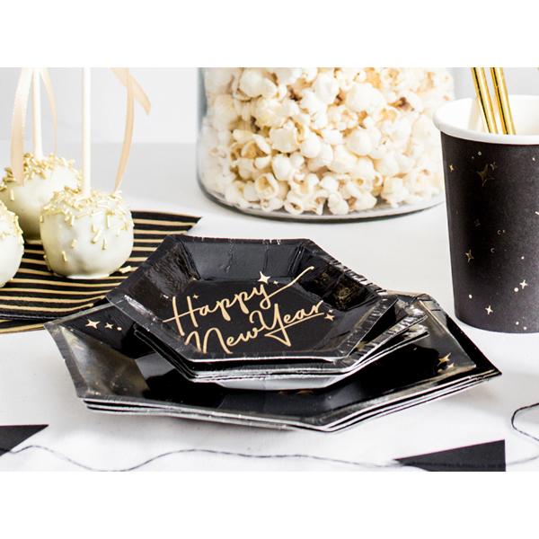 Papír tányér, fekete, arany szegéllyel, HNY, 12.5 cm