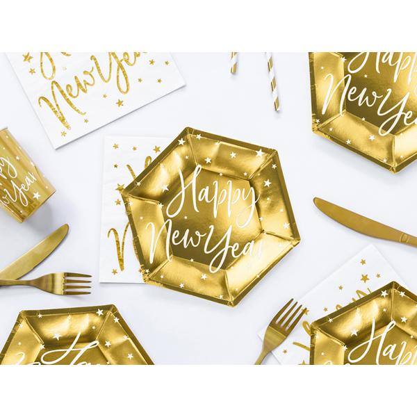 Papír tányér, arany, Happy New Year  6 db/cs