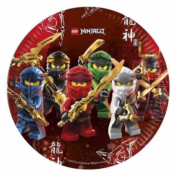 Papír tányér, Lego Ninjago, 23cm,  8 db/csomag