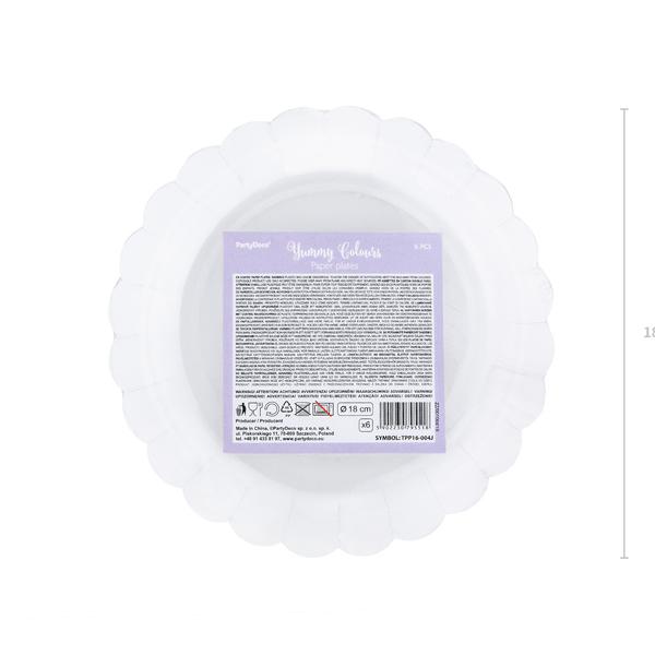 Papír tányér, világos lila, arany szegéllyel, 18 cm