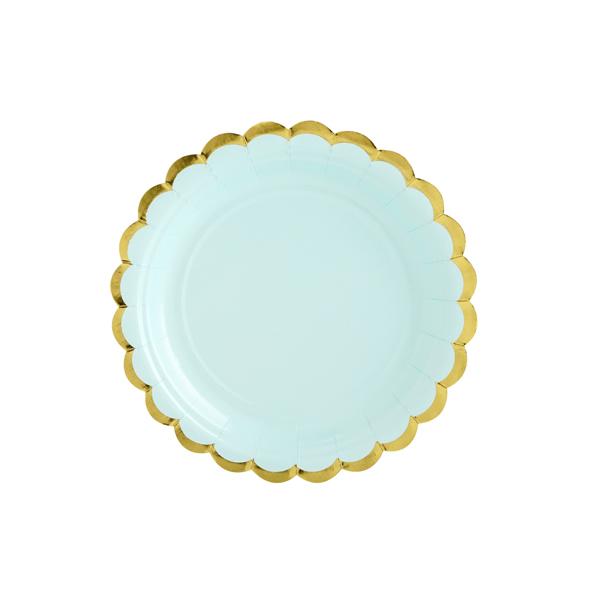 Papír tányér, menta, arany szegéllyel, 18 cm