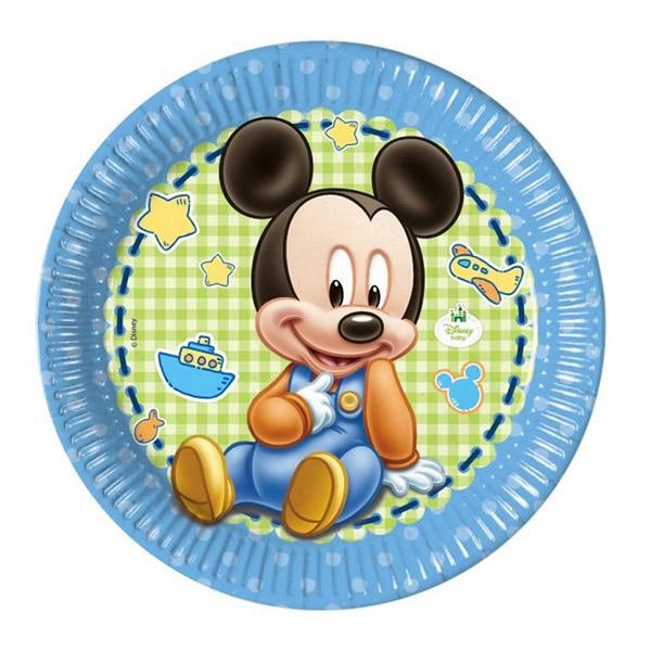 Party tányér, MICKEY baby, 8db/cs, 23cm