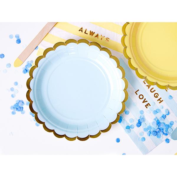 Papír tányér, világos kék, arany szegéllyel, 18 cm