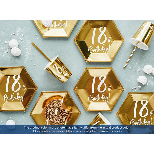 Papír tányér, 18-as számmal, arany, 6db/cs
