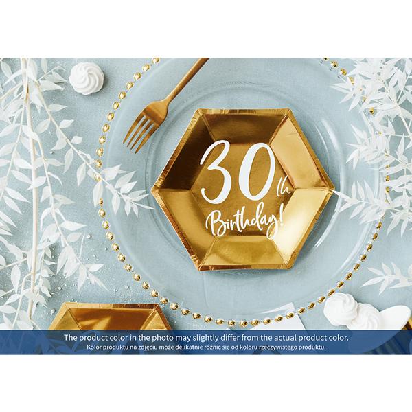 Papír tányér, 30-as számmal, arany, 6db/cs