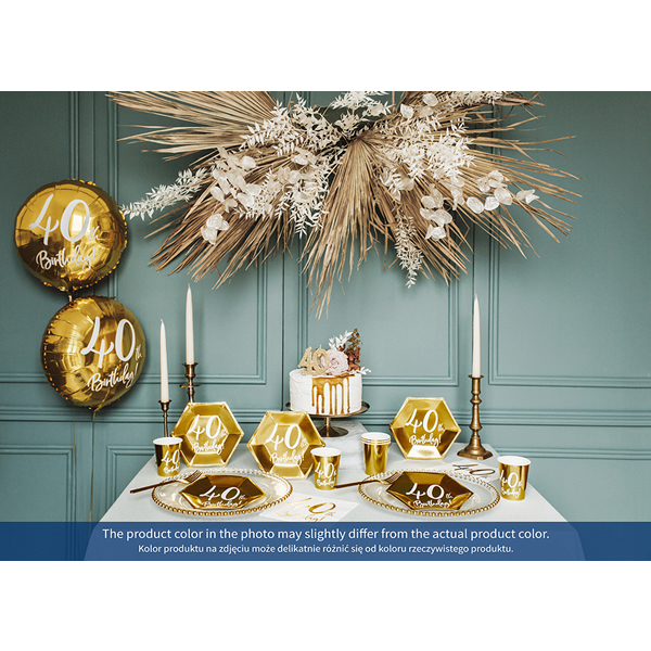 Papír tányér, 40-es számmal, arany, 6db/cs