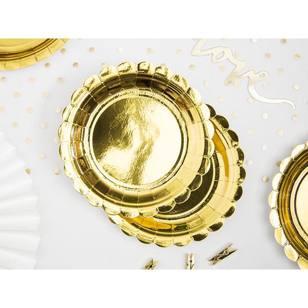Papír tányér, arany, d23cm,  6db/cs