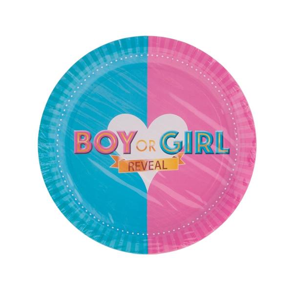 BOY OR GIRL, papír tányér, 23 cm, 8 db/cs