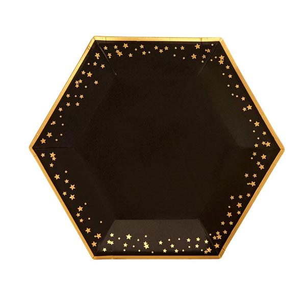 Papír tányér, fekete, ünnepi, csillagokkal, 27 cm, 8db/cs