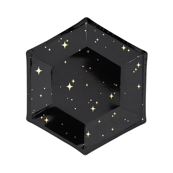 Papír tányér, fekete, ünnepi, csillagos, 20 cm