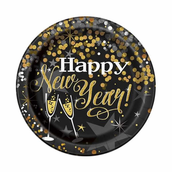 Papír tányér, fekete, Happy New Year, glitteres, 23cm, 8db/cs