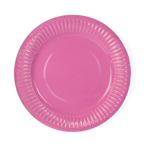 Papír tányér, pink 18 cm