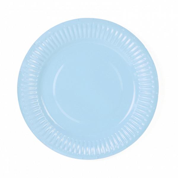 Papír tányér, világos ég kék 18 cm