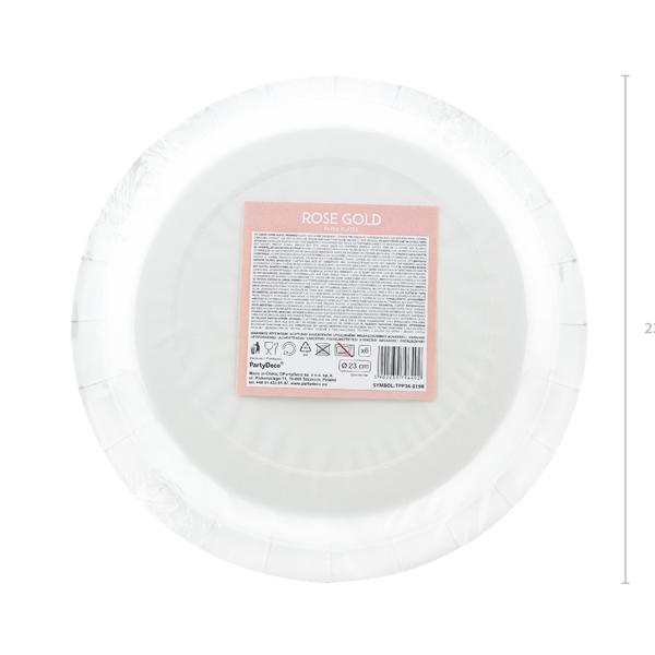Papír tányér, rosegold, d23cm,  6db/cs