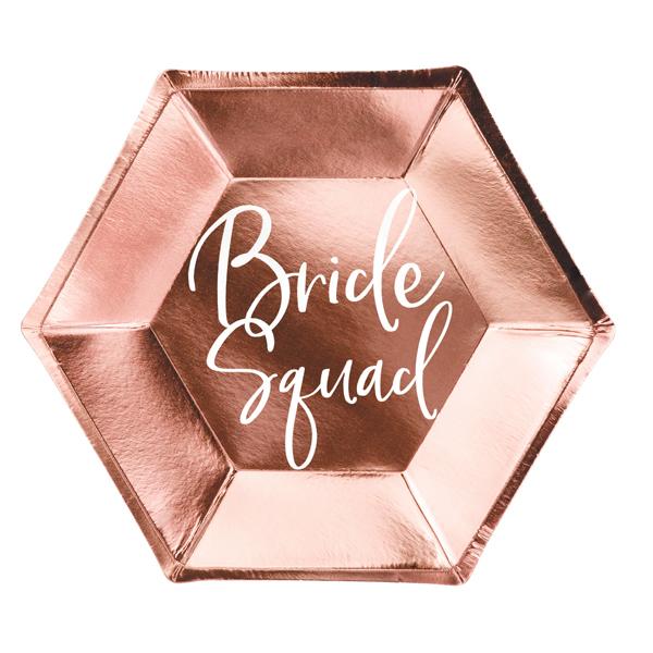 Papír tányér, rosegold, Bride squad, d23cm,  6db/cs