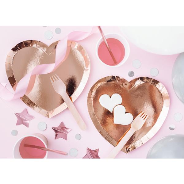 Papír tányér, rosegold, szív, 6 db