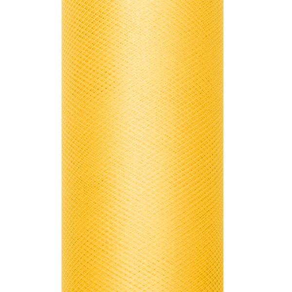 Dekoranyag, tüll, 30CM, 9M,  sárga