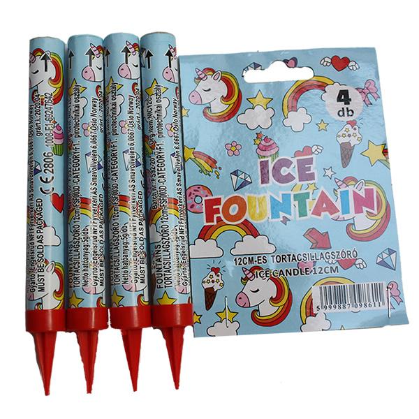 Tortatűzijáték 12 cm, unikornisos, 4db/csomag