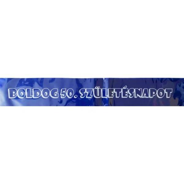 Vállszalag, kék, Boldog 50. születésnapot felirattal