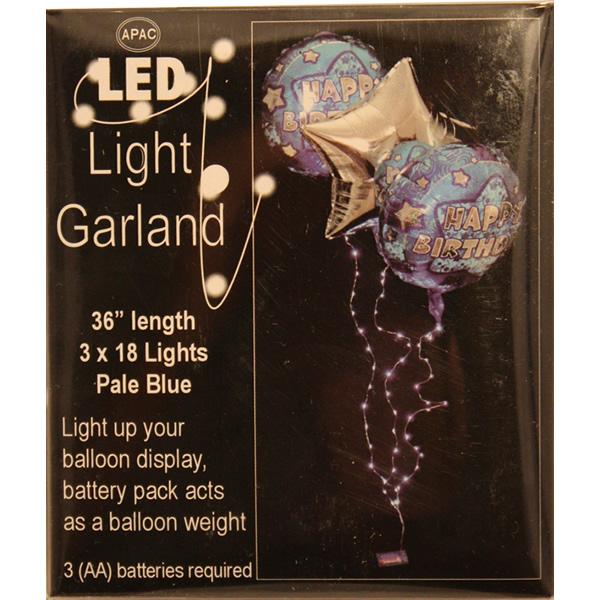 Led girland, 3 héliumos lufihoz, 3x18 led, elemes