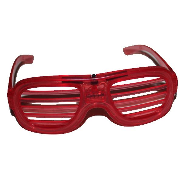 Villogó party szemüveg ledcsíkos, piros