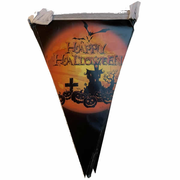 Halloween zászló, kastély-tökkel
