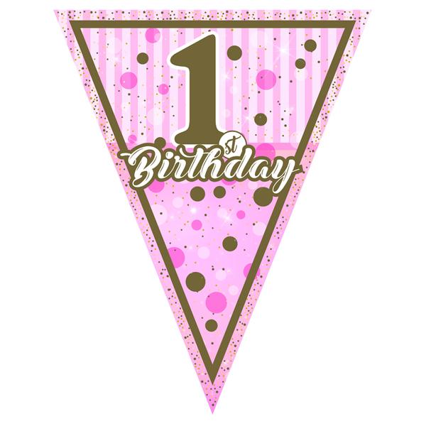 Zászló girland 1st Birthday, baba pink, 3,2 méter